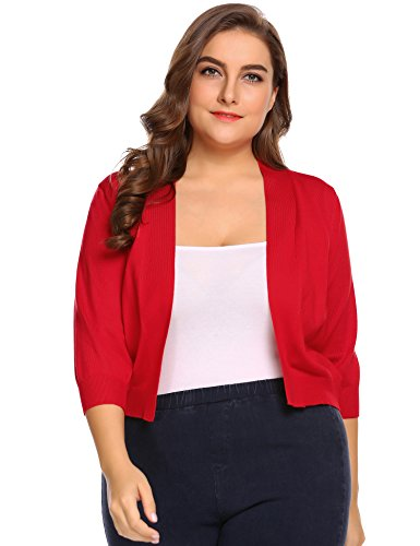 IN'VOLAND Womens Classic 3/24 Sleeve Open Front Cropped Cardigan