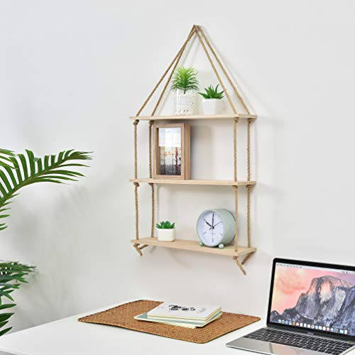 Tier Three Natural - JayDee Decorative Hanging 3 Tier Natural Wood Floating Wall Shelves with Jute Rope-Home Decor Organizer for Any Room!