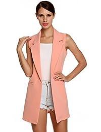 Meaneor Women's Oversized Open Longline Sleeveless Duster Blazer Jacket Coat Pink M