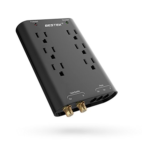 BESTEK Wall Surge Protector Power Strip by, Outlet Extender with 6-Outlet and Cable/Satellite/Phone/Coaxial Protection, 740 Joule, UL - Protection Line Surge