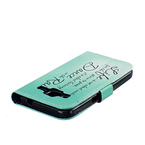 OuDu Funda PU Cuero para Samsung Galaxy Core Prime G360 Carcasa Protectora Suave Caso Blando Funda Billetera Flip Wallet Case Cover Bumper Funda Ultra Delgado Carcasa Flexible Ligero Caja Anti Rasguño Vida Verde
