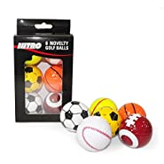 Nitro Novelty Golf Balls Assorted Sports, 6 Pack