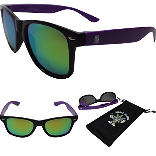 Stoner Shades Unisex Mirror Lens Sunglasses For Men/Woman (Black with Purple temple, - Logo With 400 Custom Uv Sunglasses
