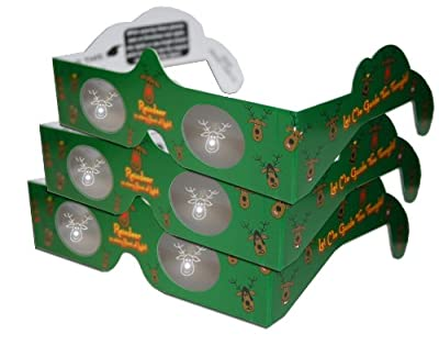 3D Christmas Glasses - Holiday Specs -REINDEER - 3 PAIRS - Transform Christmas Lights Into Magical Images