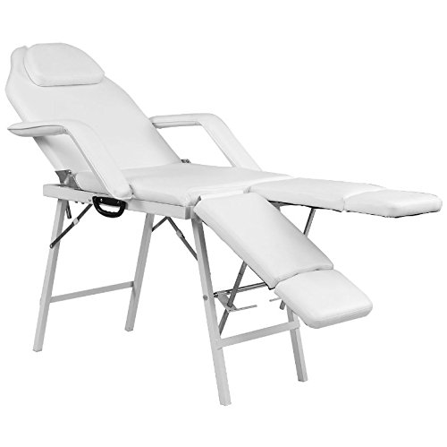 75'' White Portable Massage Foldable Table With Black Non-Woven Bag Tattoo Parlor Spa Salon Facial Bed Beauty Adjustable Leg Support Professional Therapist Back Home Therapy Heavy Duty Steel Frame