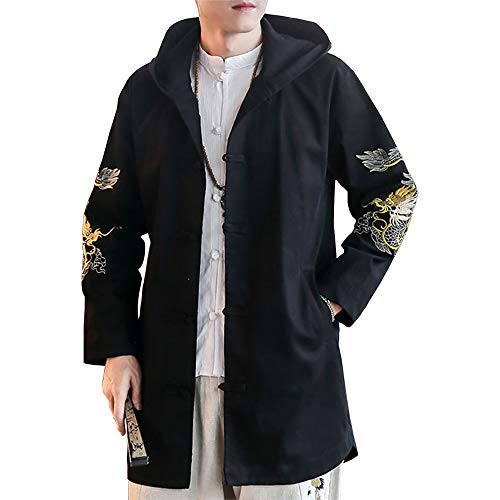 Embroidered Trench Coat - Hao Run Men's Hooded Embroidered Trench Coat Chinese Style Long Cloak Jacket Black