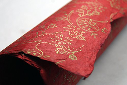 Red Gold Holiday Flower Pattern Handmade Gift Wrapping Paper 3 Pack