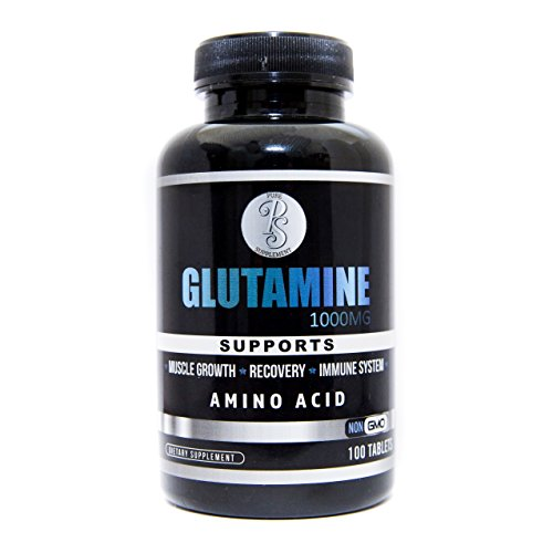 Pure Supplement 100% Pure L Glutamine Amino Acid - 1000mg 100 Count Tablets -Protein Synthesis, Muscle Recovery, Prevents Sugar Craving, Strengthens Gut Lining, Body Fat Burning