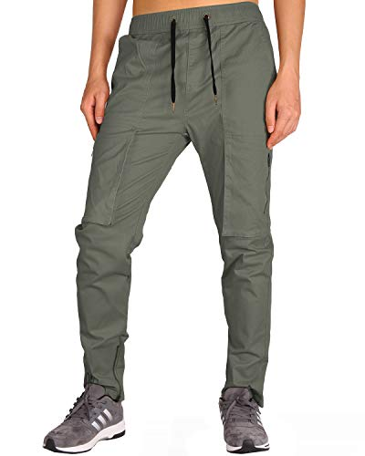 THE AWOKEN Mens Chino Cargo Pant Straight Style Trousers (Grey Green, -