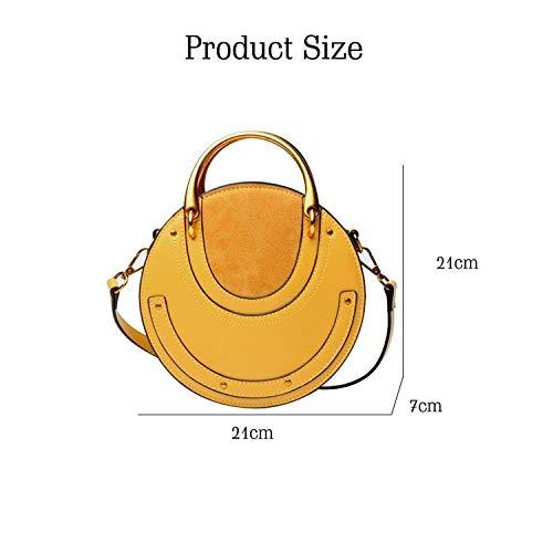 Women Yoome For Purse Handbags Punk Real Circular Bag Crossbody Handle Grey Rivet Cowhide Elegant Bags Ring AxRqr6A