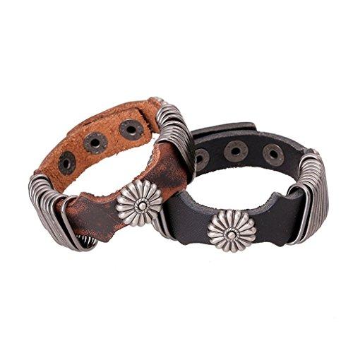 [Bishilin Pu Leathernk Rock Punk Punk Retro Brown Leather Cuff Wrap Bangle Bracelets] (Diy Woman Wolf Costume)