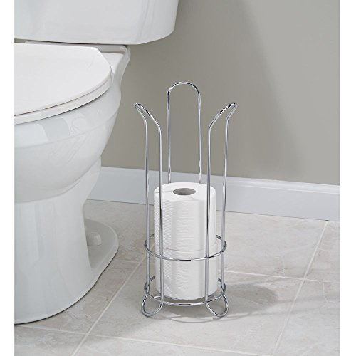 InterDesign Classico Tulip Free Standing Toilet Paper Roll Holder For Bathroo