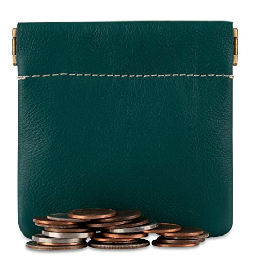 Classic Leather Squeeze Coin Purse change Holder For Men By Nabobb (Teal)