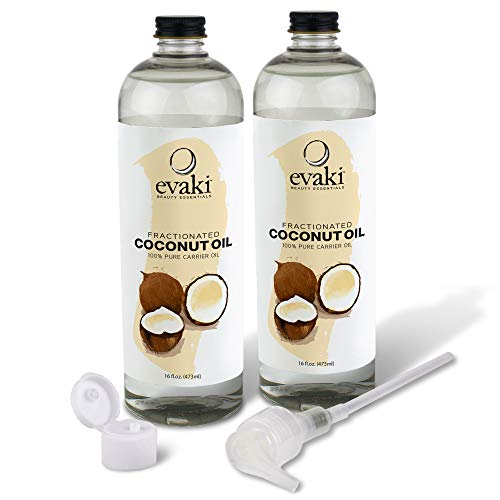 2-PACK Evaki 16oz Fractionated Coconut Oil + Hand Pump + Dispensing Cap— A Must Have for Skin & Hair Care, Massage Therapy and Aromatherapy (32 Total Ounces!)