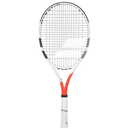 Babolat Boost Strike (Boost S) MidPlus Gray/Orange/White Recreational Adult and Junior Tennis Racquet (4 3/8 Inch Grip) Strung with Silver Racket String (Lightweight, Entry Level Adult Racket)