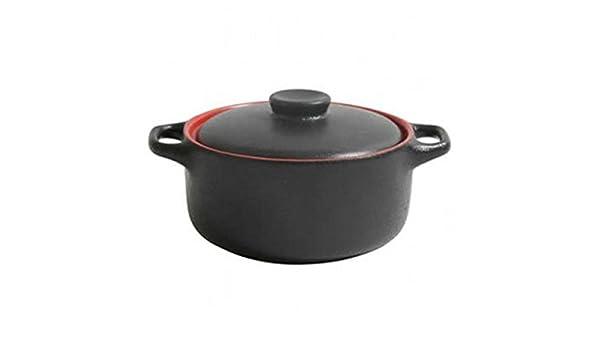 Negro y Rojo de gres cacerola 10 x 5 cm – juego de 6 – Horno y servir platos individuales: Amazon.es: Industria, empresas y ciencia