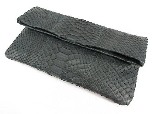 PELGIO Fold Matte Purse Python Leather Bag Clutch Genuine Soft Skin Snake Black rg6wzrqvY
