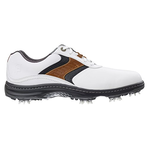 FootJoy 2016 Men's Contour Plain Toe Saddle Golf Shoes, Previous Season Styles (11 D(M) US, White/Taupe/Black) (Footjoy Shoes compare prices)
