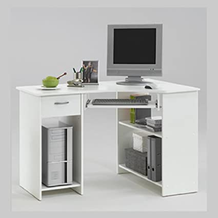Sharpe White Colour Wood Corner Computer Pc Work Station Table Desk With Drawer And Keyboard Shelf By Dmf Flx Amazon Co Uk Kitchen Home