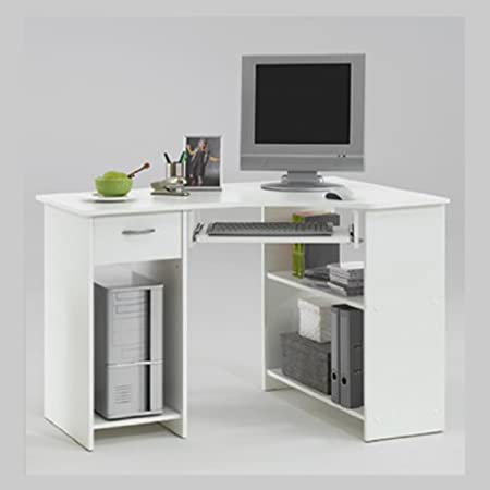 Bon SHARPE White Colour Wood Corner Computer/PC Work Station Table Desk With  Drawer And Keyboard Shelf By DMF (FLX): Amazon.co.uk: Kitchen U0026 Home