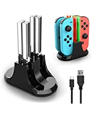 Joy pad Charging Dock, YCCTEAM 4 in 1 Switch Remote Charger for Switch, Joypad Controller Charger Station with LED Indication and Type C Cable