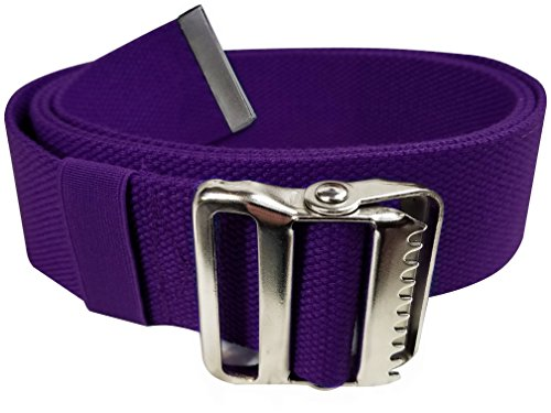 "LiftAid Walking Gait Belt and Patient Transfer with Metal Buckle and Belt Loop Holder for Nurse, Caregiver, Physical Therapist (Purple, 60"")"