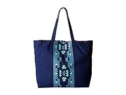Plush Soleil Aztec Tote Bag Blue Tote Handbags