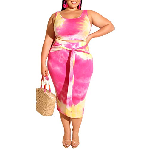 Womens Sexy Plus Size 2 Piece Midi Dress Outfits - Sleeveless Tie Dye Print Tank Crop Top Bodycon Sk - http://coolthings.us