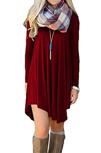 Flowy Simple Swing Dress Loose T-Shirt Dresses S Wine Red ()