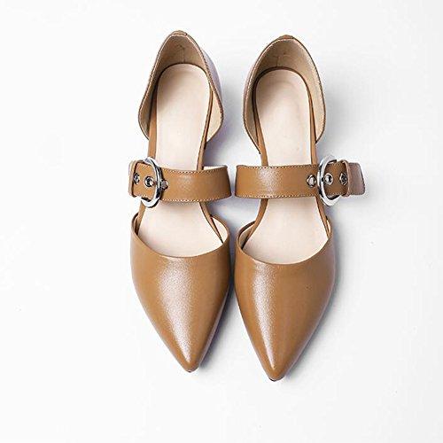 2 Talón YIXINY Apuntado Zapatos UK3 CN35 de Zapatos Hebilla tacón Grueso De 5 Tacón EU36 Poco Mujer Boca Profunda Salvaje 3cm 3 Moda Tamaño Color Wr0qSInwxr