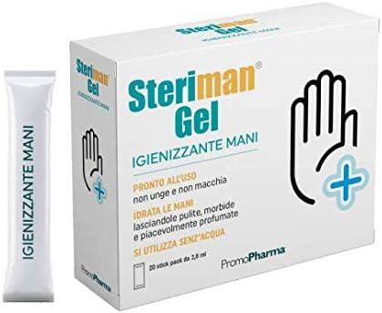 Steriman Gel - IGIENIZZANTE MANI senza utilizzo di acqua - Base Idroalcolica - Uccide germi e batteri RAPIDAMENTE - 20 Stick Monouso