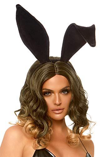 Black Bunny Ears (Leg Avenue Women's Velvet Bunny Ears Headband, Black, One)