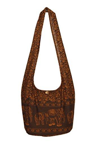 nbsp;– bolsa nbsp;100 diseño viaje elefante nbsp;playa hombro bolso bolsa Thai Gold Gypsy nbsp;– de Brown de Sling mano Boho algodón hippy de fwq5xET
