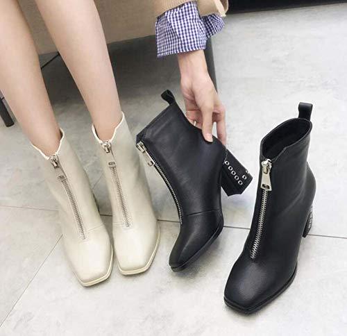 Zapatos Cuadrado Mujeres 40 De Cremallera Zapatos Botín del Tacón Pie 7Cm De Dedo UE Botas Vestir Grueso Tamaño Corte 34 Black OL Ankel Martin UWBP57vq7w