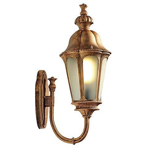 Meteor American Retro Outdoor Waterproof Wall Light Garden Balcony Corridor Lighting Wall Lamp Restaurant Living Room Staircase Decorative Wall Sconce Frosted Glass E27 Lamp Holder (Color : Brass)