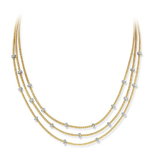 0.50ctw. Diamonds Pave-Set Roundels 14K Yellow Gold Textured-Finish Multi-Strand Hand Mesh Necklace ()