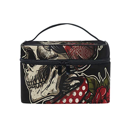Hengpai Sugarskull Girl With Ros Cosmetic Bag Travel Makeup Train Cases Storage Organizer for Women ()