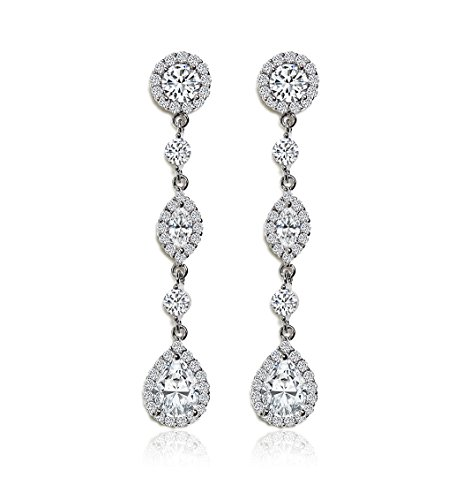 AMY O Cubic Zirconia Long Drop Crystal Silver Earrings Necklace Set