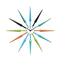 Infinity Instruments Celeste Multi-Color Large Colorful Wall Clock | Retro Wall Clock Starburst | 24 inch Big Colorful Clock | Black, Aqua, Blue, Orange, Green