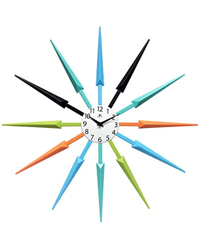 Infinity Instruments Celeste Multi-Color Large Colorful Wall Clock | Retro Wall Clock Starburst | 24 inch Big Colorful Clock | Black, Aqua, Blue, Orange, Green (Wall Unique Clocks Colorful)