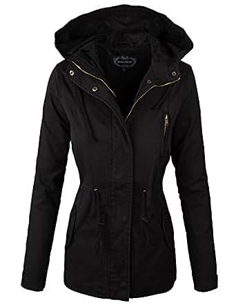 makeitmint Women's Zip Up Military Anorak Jacket w/Hood Small YJH0018_06Black