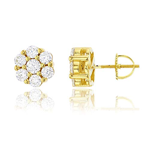 Cluster Diamond Earrings Silver (Decadence Unisex Adult Sze4566Y2W Sterling Silver Yellow Pave Round Cluster Screw-Back Stud Earrings, One Size)