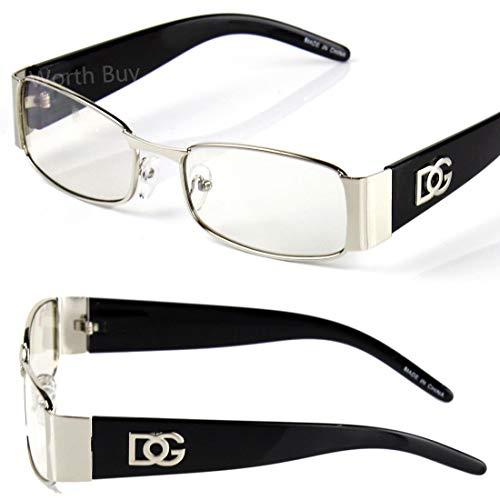 Men Women DG Clear Lens Designer Rectangular Eyeglasses Retro Fashion Nerd - Prescription Dg Glasses