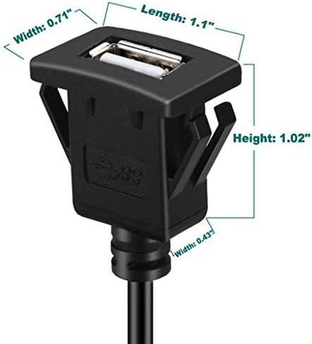 P Prettyia 1 M USB 2.0 AオスからUSB Aメスカーダッシュボードフラッシュマウント延長ケーブル