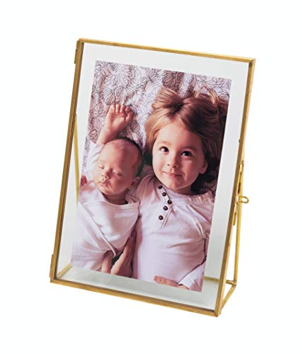 Levilan 5x7 Gold Photo Frame Vintage Style Antique Gold Standing Picture Frames with Pressed Glass, Brass (5 x ()