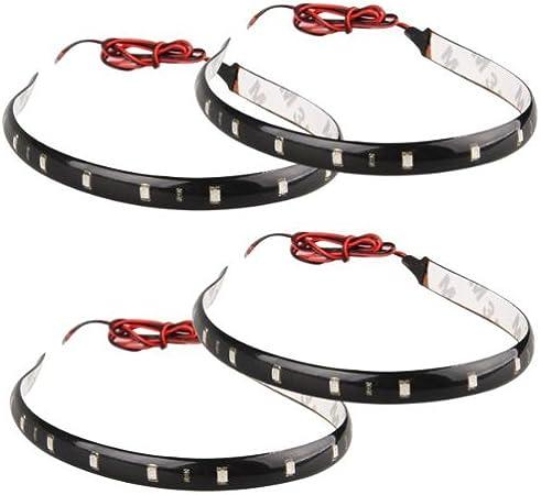 E Support/™ 8 X Ruban Flexible Eclairage Lumi/¨/¨re blanc Etanche 30cm 15 LED 12V pour Voiture V/¨/¦hicule