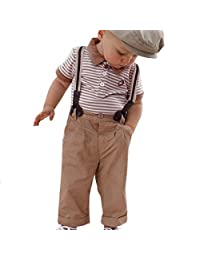 Yoyorule Boy Baby Striped Polo T-Shirt Top Bib + Pants Set Overalls Outfit