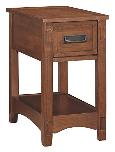 Ashley Furniture Signature Design - Breegin Chairside End Table - 1 Drawer - Contemporary - Brown (Solid Oak Table)