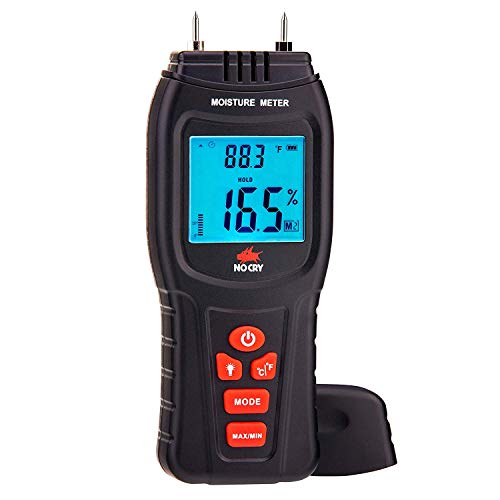 - NoCry Digital Moisture Meter - Water Leak Detector and Thermometer for Wood & Building Materials, Battery and Replacement Electronic Probes Included
