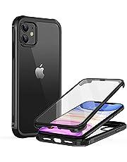 """Bauhoo 360 Case iPhone 11 Hoesje (2019) met Ingebouwde Screenprotector Schokabsorptie Transparant Bumper Clear Case voor iPhone 11 2019 6.1"""" Zwart"""